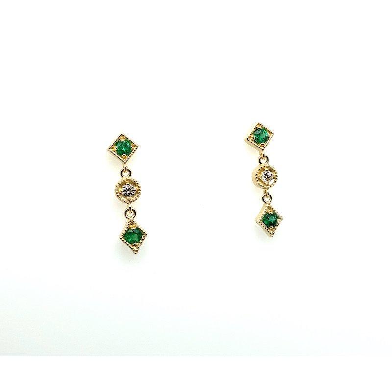 Adam K. 14k Emerald & Diamond Earrings