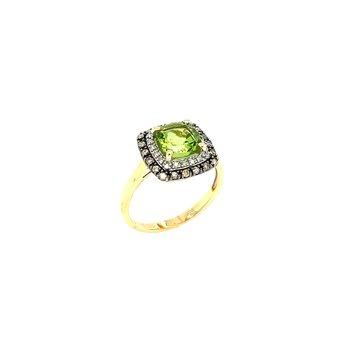 14k Peridot Diamond Ring