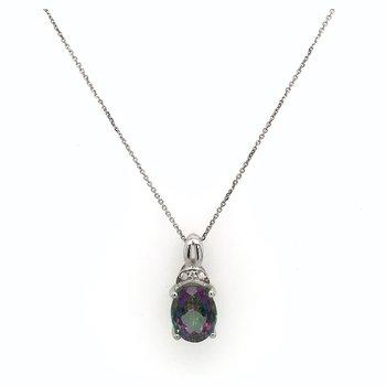 Mystic Topaz & Diamond Pendant With 14k Chain