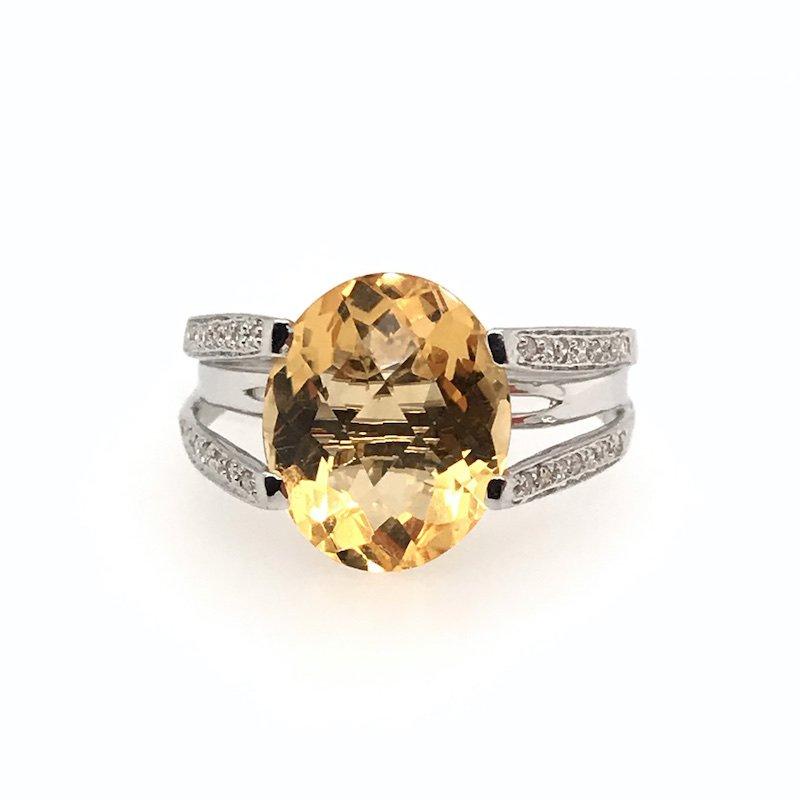 Adam K. Round Citrine & Diamond Ring