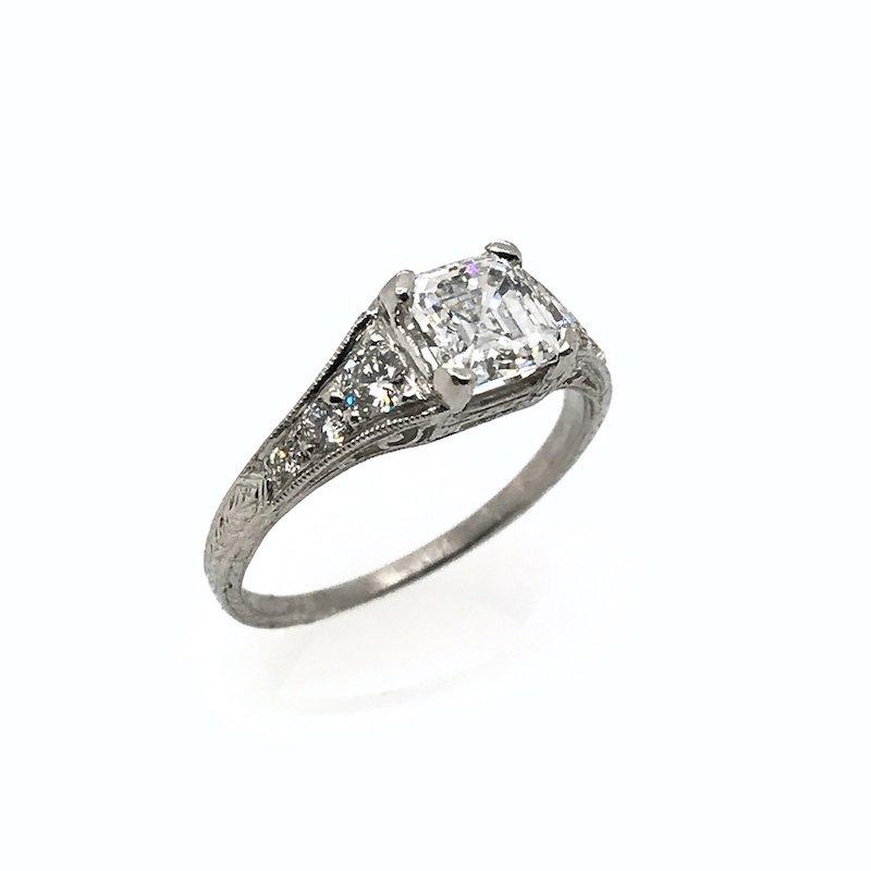 Adam K. Platinum Art Deco Diamond Engagement Ring