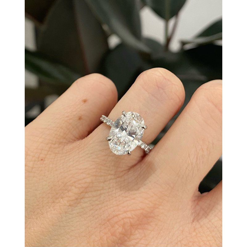 Oval Brilliant Diamond Four-Prong Cathedral Style