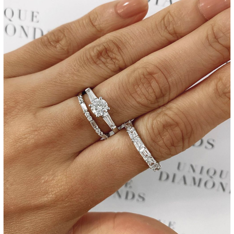 Round Brilliant and Baguette Diamond Band