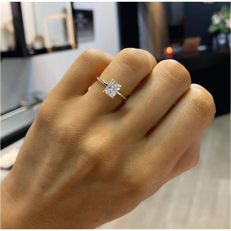 Radiant Cut Four-Prong Solitaire Band