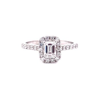 14 Karat White Gold Emerald Cut Center with Diamond Halo Engagement Ring
