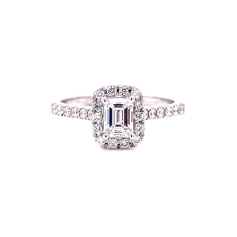 Corinth Collections  14 Karat White Gold Emerald Cut Center with Diamond Halo Engagement Ring