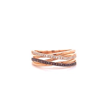 10K Rose Gold Brown and White Diamond Criss Cross Band
