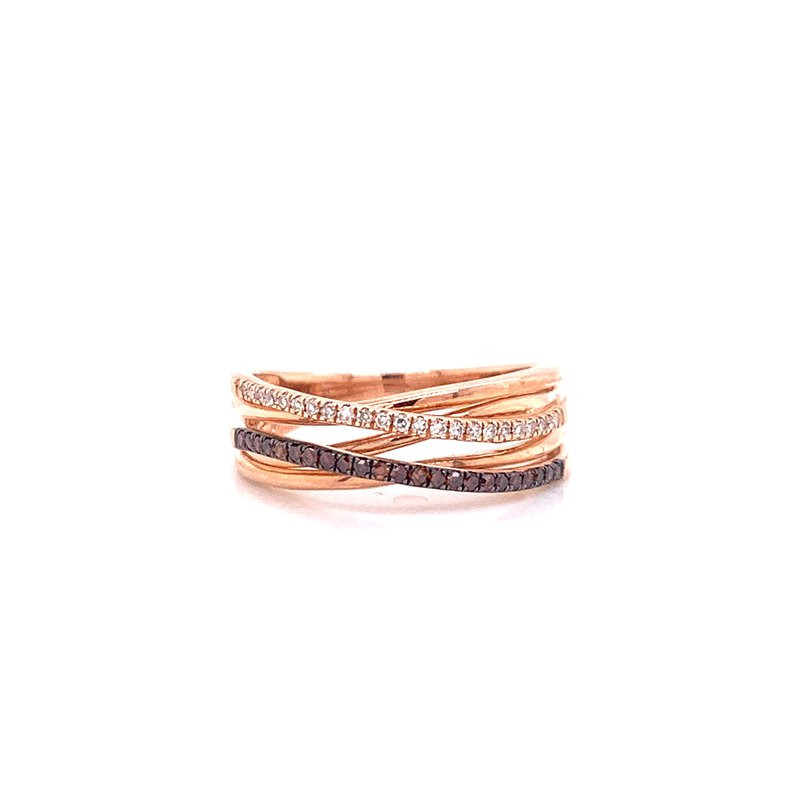 Corinth Collections  10K Rose Gold Brown and White Diamond Criss Cross Band
