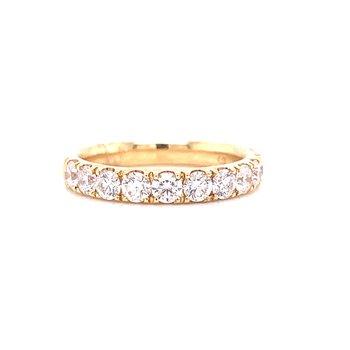 14 Karat Yellow Gold Round Diamond Band