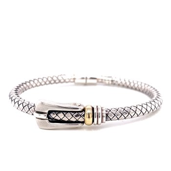 Sterling Silver and 18 Karat Yellow Gold Buckle Bracelet