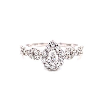 14 Karat White Gold Pear Shape Center with Diamond Halo and Infinity Shank