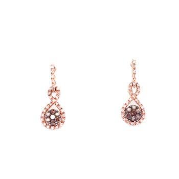 14K Rose Gold Brown and White Diamond Dangle Cluster Earrings