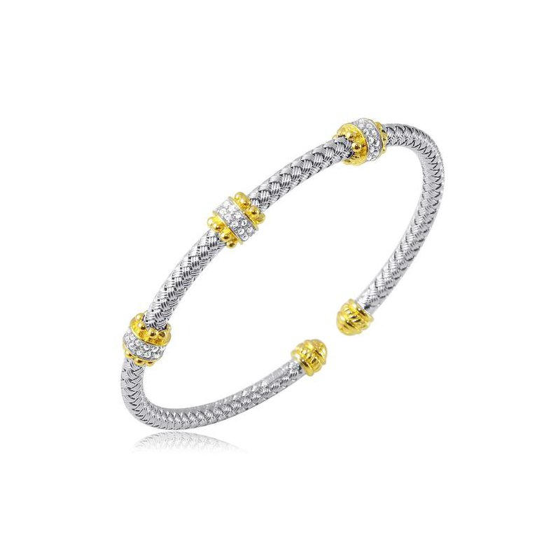 Corinth Collections  Sterling Silver and Gold Plating Cuff Bracelet with Two Tone and CZ Accent