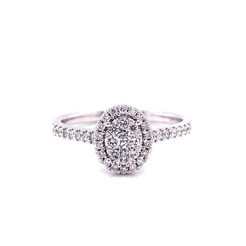 14 Karat White Gold Oval Illusion Diamond Engagement Ring with Diamond Halo