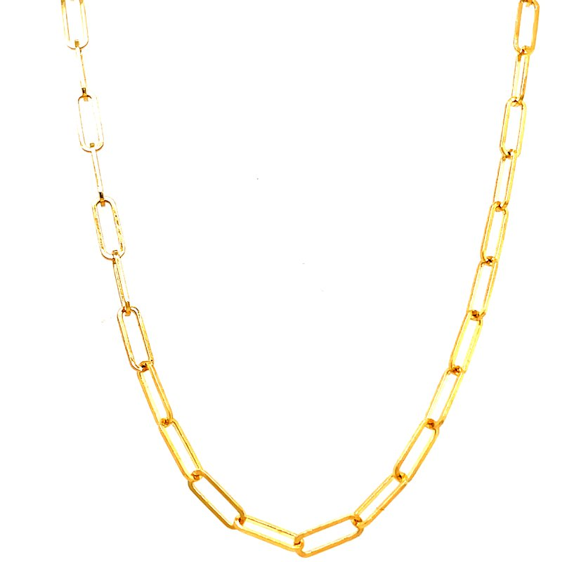 Corinth Collections  14 Karat Yellow Gold Paper Clip Necklace