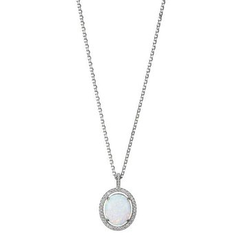 Sterling Silver Synthetic Oval Opal with CZ Halo Necklace