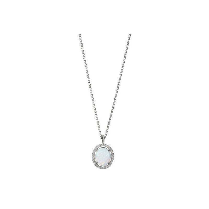 Corinth Collections  Sterling Silver Synthetic Oval Opal with CZ Halo Necklace