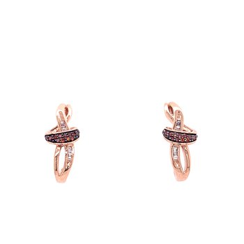 10K Rose Gold Brown and White Diamond Studs