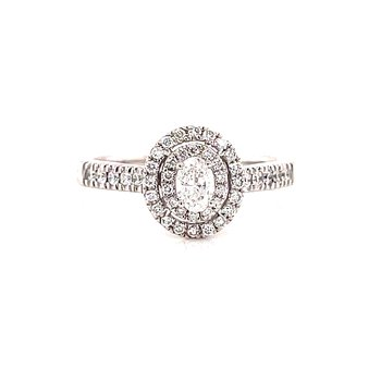 14 Karat White Gold Oval Center Stone with Double Diamond Halo Engagement Ring