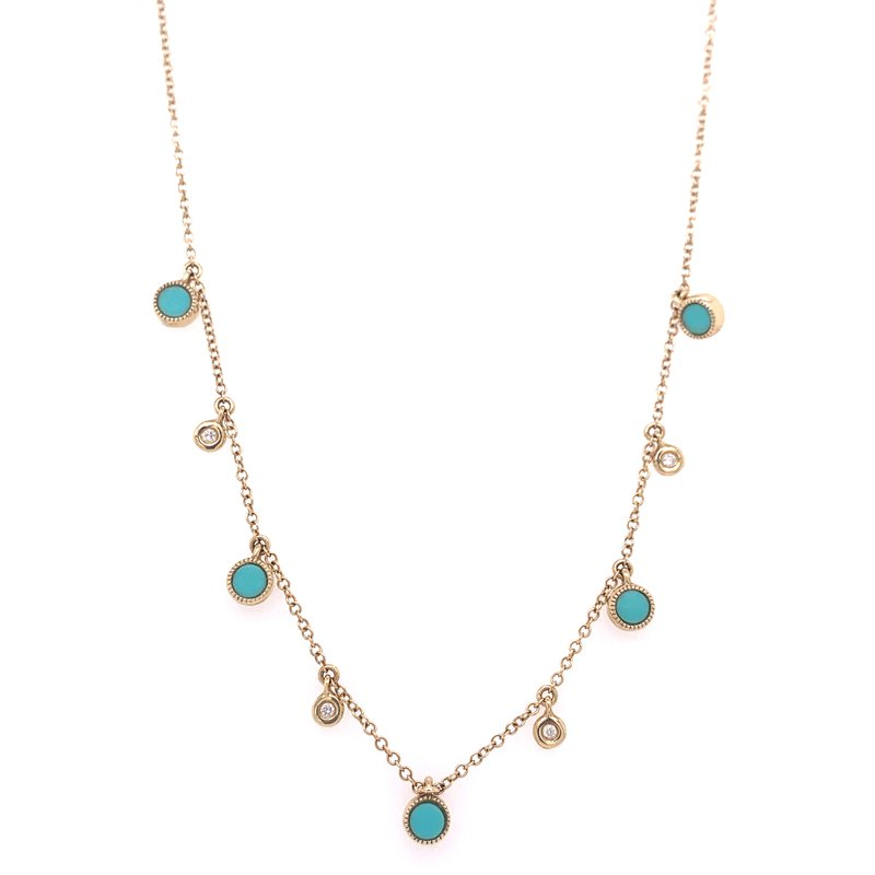 Corinth Collections  14K Yellow Gold Turquoise and Diamond Necklace