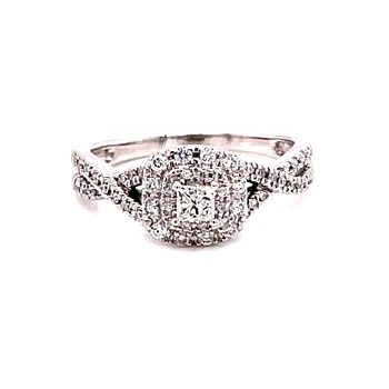 10 Karat White Gold Princess Cut Center with Double Diamond Cushion Halo with Infinity Diamond Shank Engagement Ring