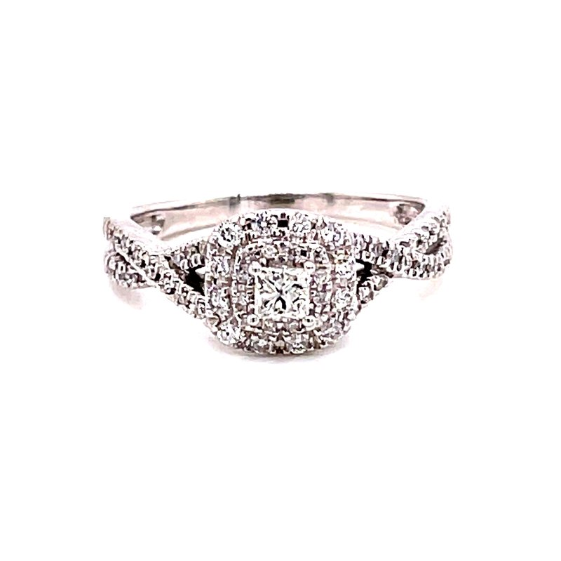 Corinth Collections  10 Karat White Gold Princess Cut Center with Double Diamond Cushion Halo with Infinity Diamond Shank Engagement Ring