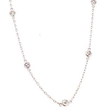 14 Karat White Gold Diamonds by the Yard Necklace