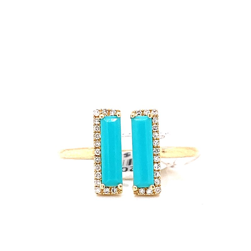 Corinth Collections  14K Yellow Gold Turquoise and Diamond Bar Ring