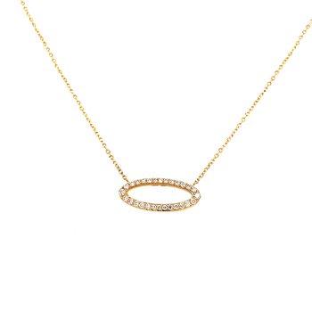 14 Karat Yellow Gold Elongated Oval Diamond Necklace
