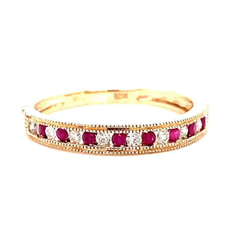 Corinth Collections  14 Karat Yellow Gold Ruby and Diamond Channel Set Stacker Band