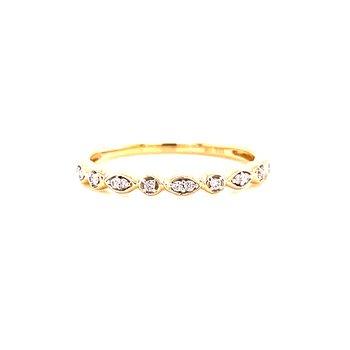 10 Karat Yellow Gold Round and Marquis Alternating Diamond Band