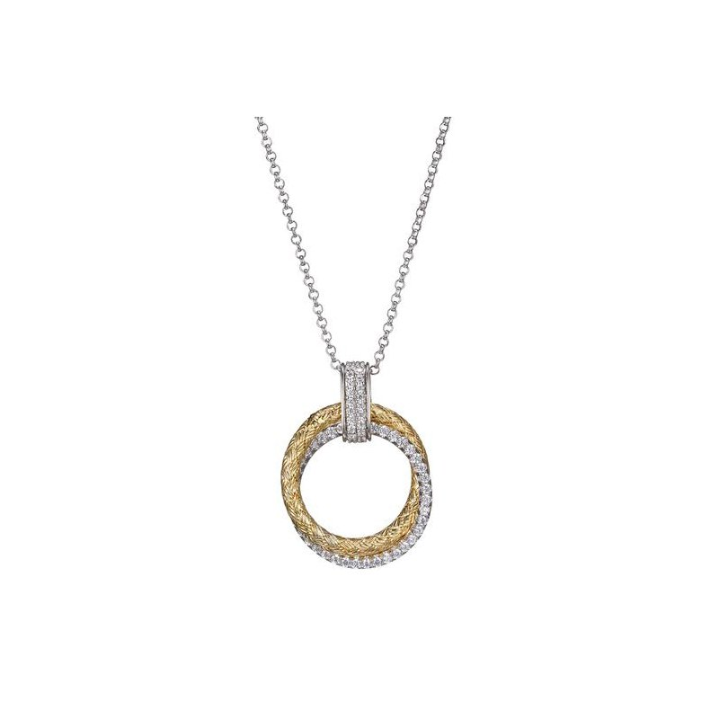 Corinth Collections  Sterling Silver and Gold Plated Double Round Weaved and CZ Necklace