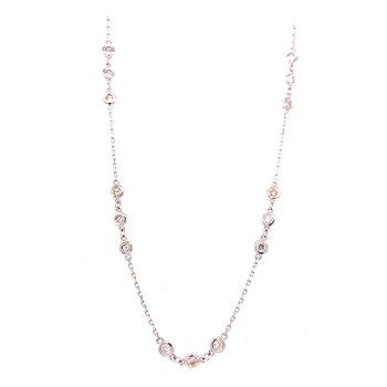 14 Karat White Gold 3-Stone Diamond by the Yard Necklace