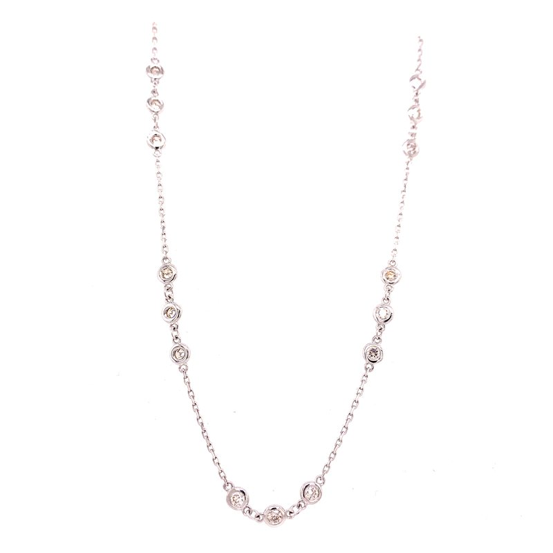 Corinth Collections  14 Karat White Gold 3-Stone Diamond by the Yard Necklace