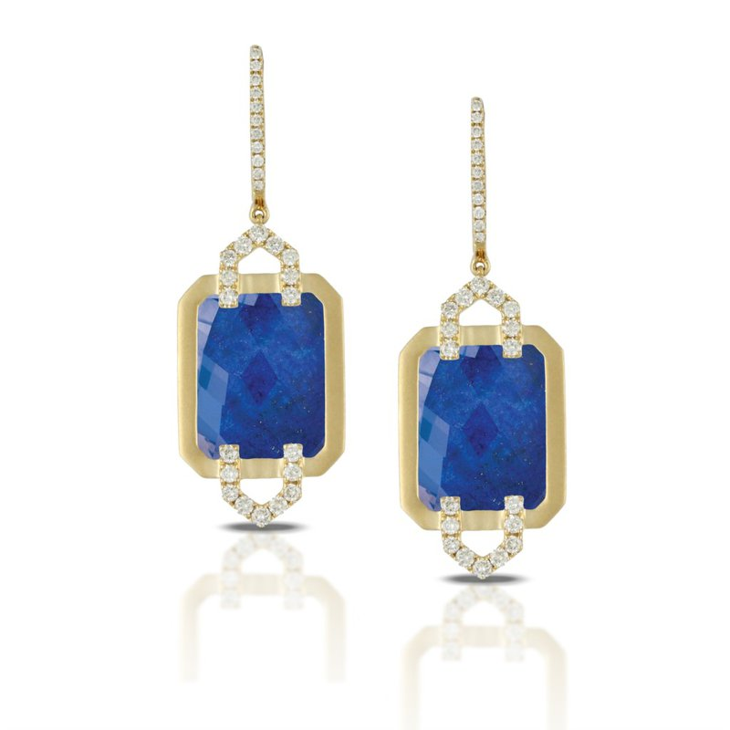 Corinth Collections  18 Karat Yellow Gold Square Lapis Dangle Diamond Earring with Clear Quartz Overlay