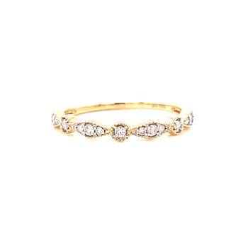10 Karat Yellow Gold Round and Marquis Alternating Diamond Stacker Bands