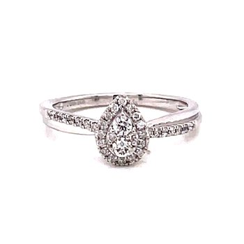 10 Karat White Gold Pear Cut Center Stone with Diamond Halo and Twisted Polished and Diamond Shank