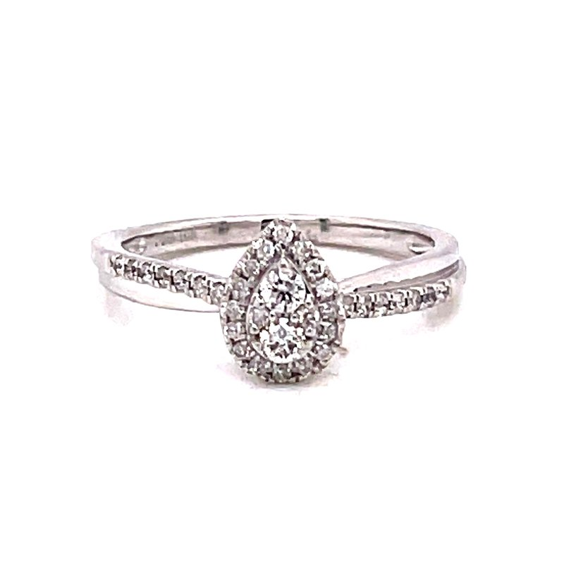 Corinth Collections  10 Karat White Gold Pear Cut Center Stone with Diamond Halo and Twisted Polished and Diamond Shank
