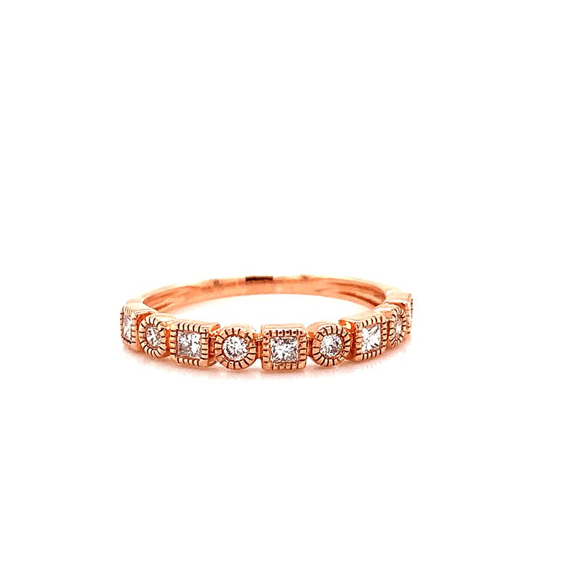 Corinth Collections  14 Karat Rose Gold Square and Round Alternating Diamond Band