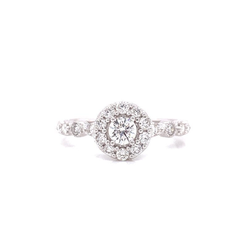 Corinth Collections  14K White Gold Round Center  with Diamond Halo and Alternating Diamond Shank  0.75 cttw