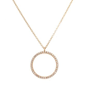 14K Yellow Gold Diamond Circle Necklace