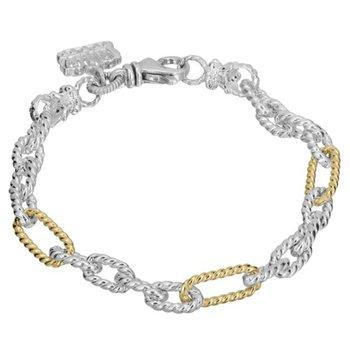 14 Karat Yellow Gold and Sterling Silver Link Vahan Bracelet