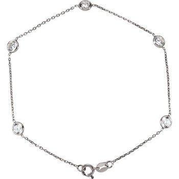 14 Karat White Gold CZ Bezel Bracelet
