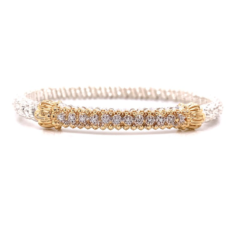 Alwand Vahan 14 Karat Yellow Gold and Sterling Silver Diamond Bar Vahan Bracelet with Yellow Gold Beaded Accents