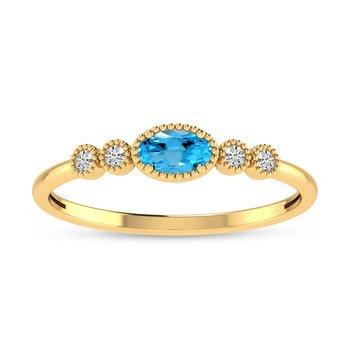 14 Karat Yellow Gold Oval Blue Topaz and Diamond Petite Fashion Band