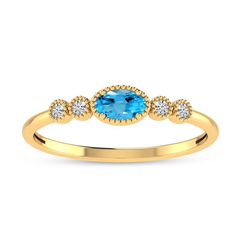Corinth Collections  14 Karat Yellow Gold Oval Blue Topaz and Diamond Petite Fashion Band