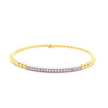 18 Karat Yellow Gold Diamond Bar Bangle with Beaded Accent