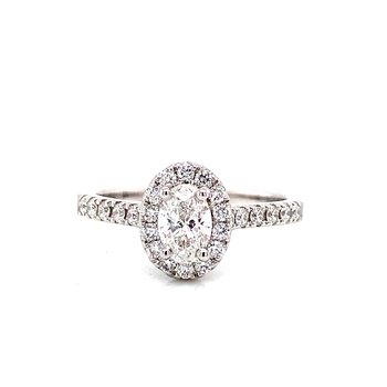 14 Karat White Gold Oval Cut Center with Diamond Halo Engagement Ring