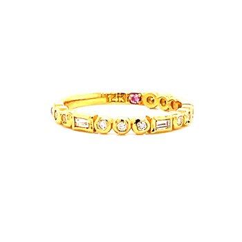 14 Karat Yellow Gold Baguette and Round Diamond Stacker Band