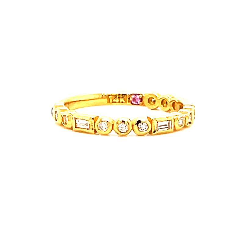 Corinth Collections  14 Karat Yellow Gold Baguette and Round Diamond Stacker Band
